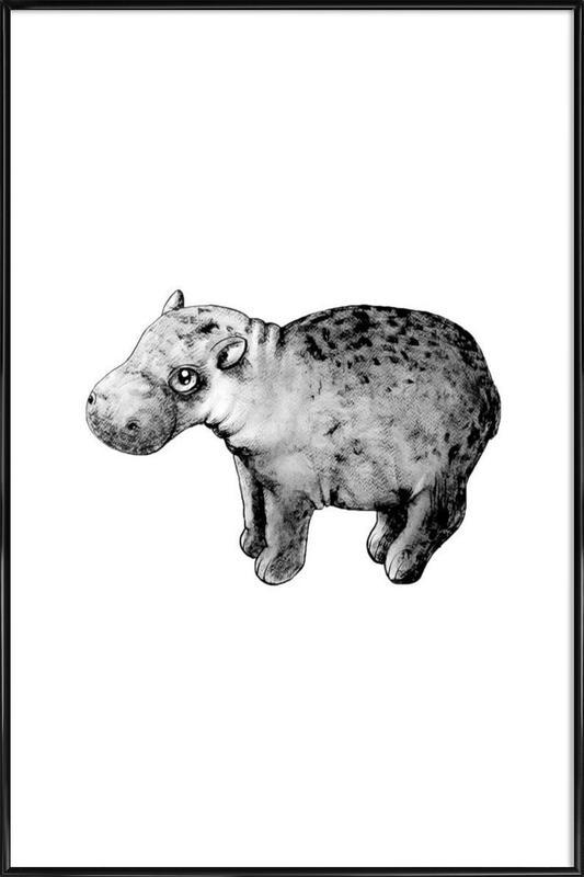 Hippo -Bild mit Kunststoffrahmen