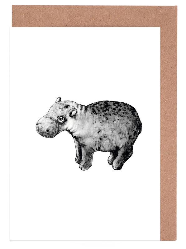 Art pour enfants, Hippopotames, Noir & blanc, Hippo cartes de vœux
