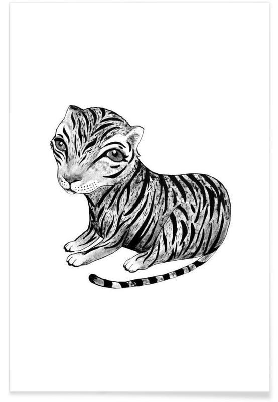 Tigres, Art pour enfants, Noir & blanc, Illustration de bébé tigre affiche