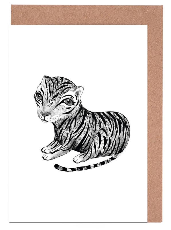 Tiger, Kinderzimmer & Kunst für Kinder, Schwarz & Weiß, Tiger -Grußkarten-Set