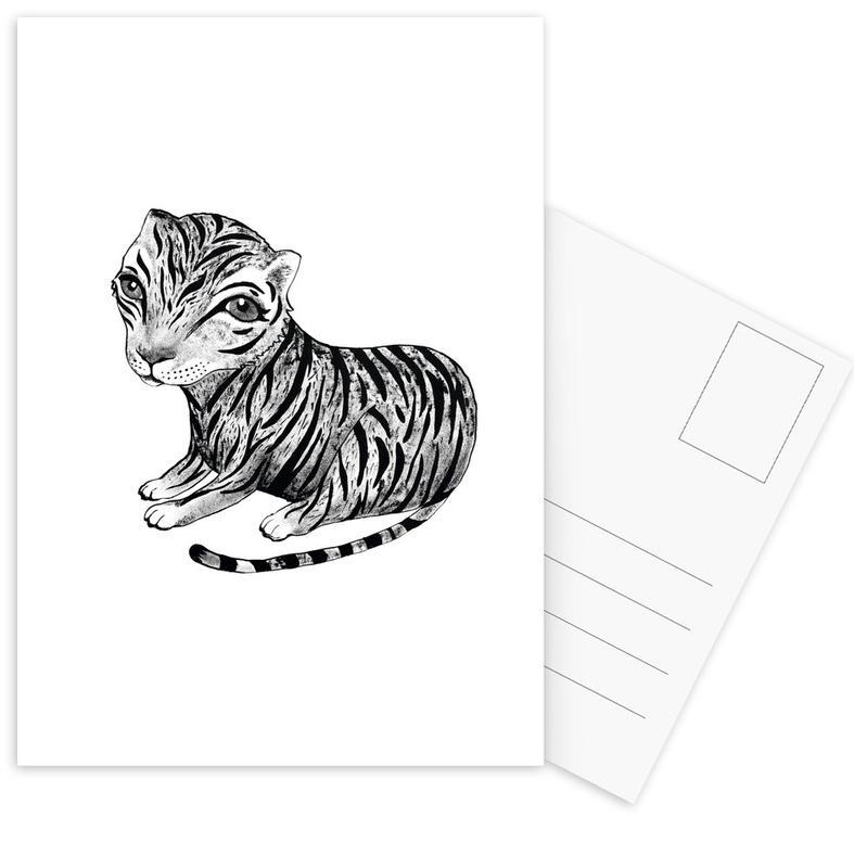 Noir & blanc, Art pour enfants, Tigres, Tiger cartes postales