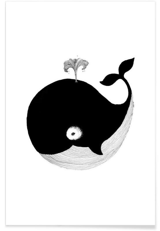 Art pour enfants, Noir & blanc, Baleines, Illustration de bébé baleine affiche