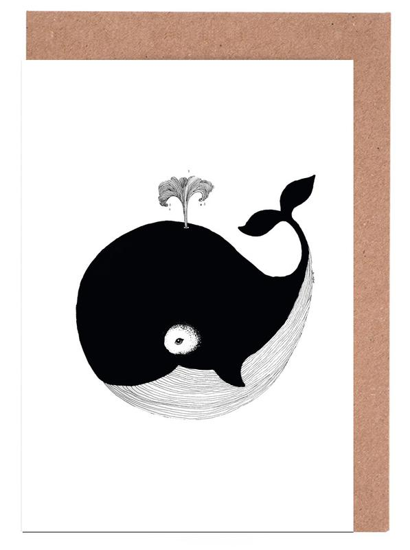 Whales, Black & White, Nursery & Art for Kids, Whale Greeting Card Set