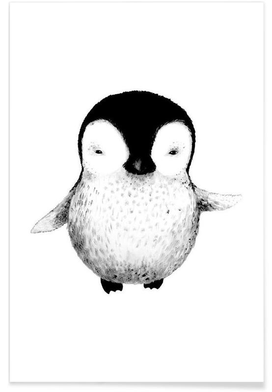 Art pour enfants, Noir & blanc, Pingouins, Illustration de bébé pingouin affiche