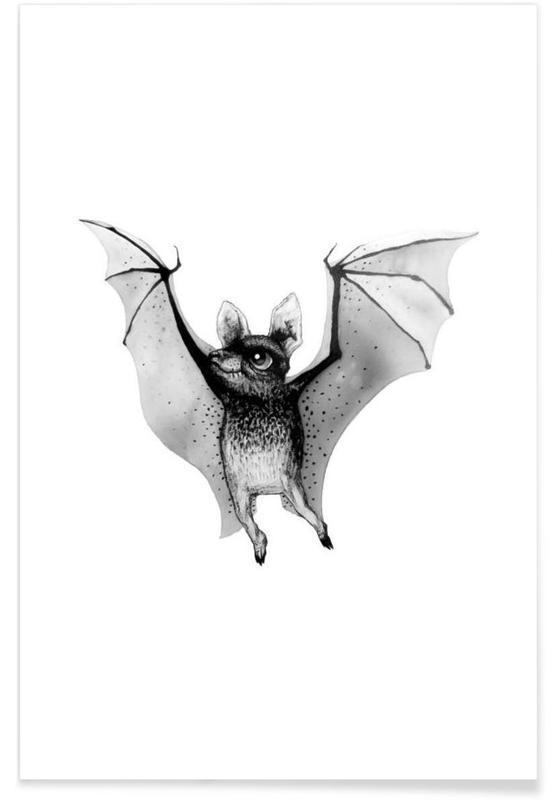 Noir & blanc, Art pour enfants, Illustration de bébé chauve-souris affiche