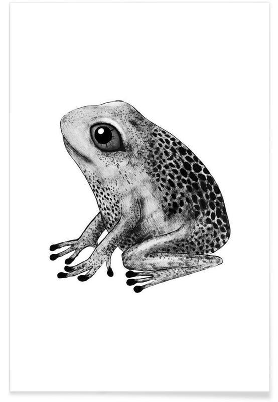 Art pour enfants, Noir & blanc, Grenouilles, Illustration de bébé grenouille affiche