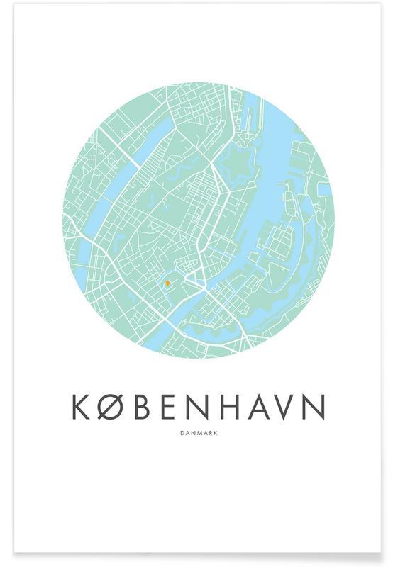 City Maps, Copenhagen, Metropolitan - Copenhagen Poster