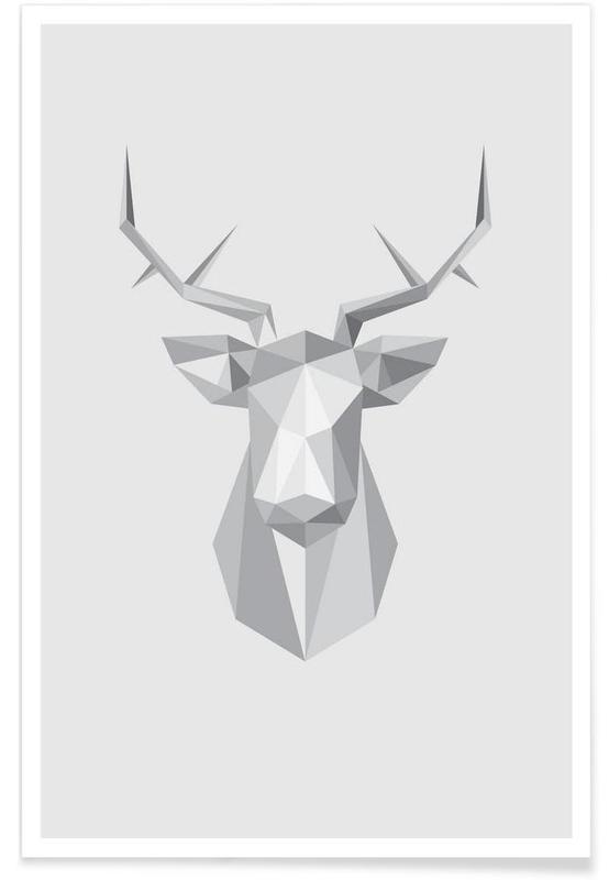 Black & White, Deer, Stag Poster