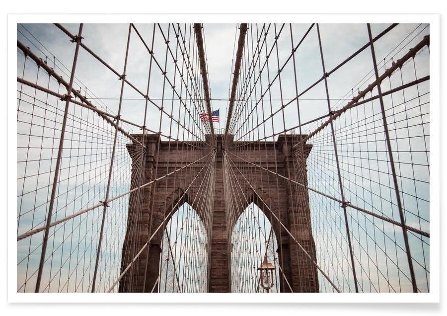 Brücken, New York, Sehenswürdigkeiten & Wahrzeichen, Brooklyn Bridge -Poster