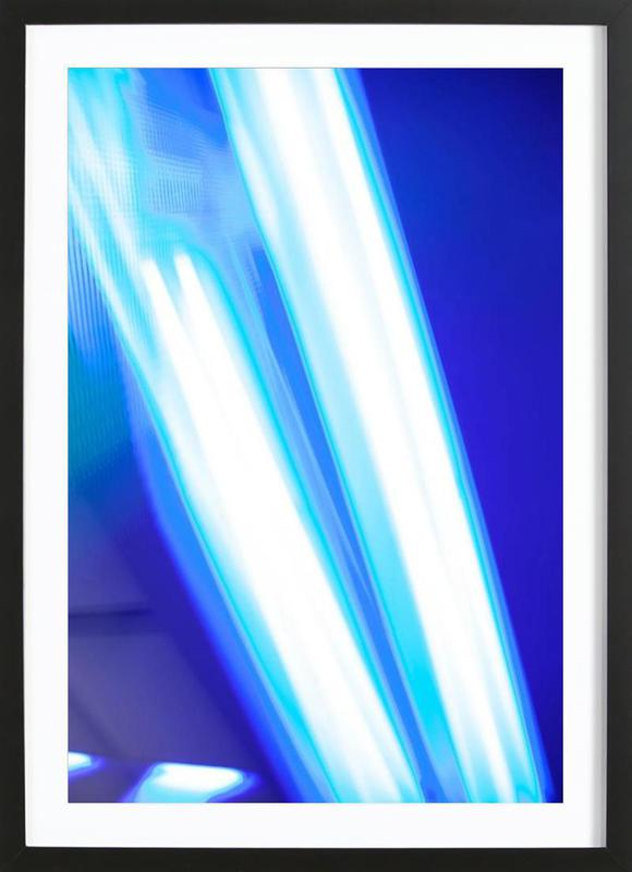 Blue Light -Bild mit Holzrahmen