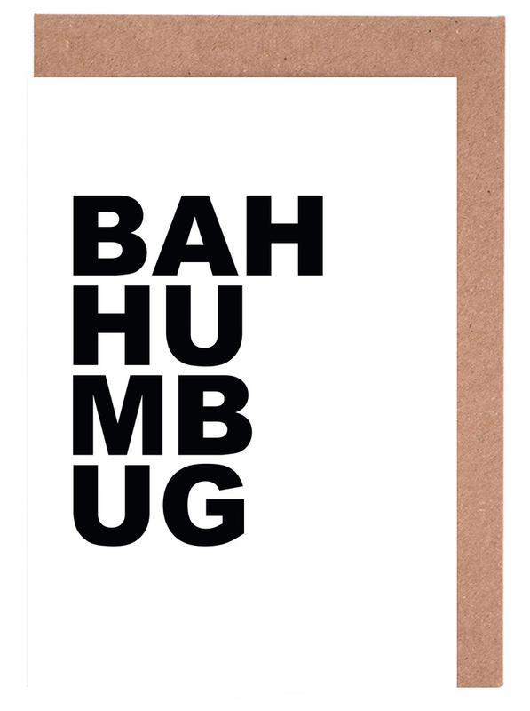 Weihnachten, Zitate & Slogans, Schwarz & Weiß, Bah Humbug -Grußkarten-Set