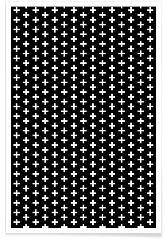 Zwart en wit, Patronen, Cross Black And White poster