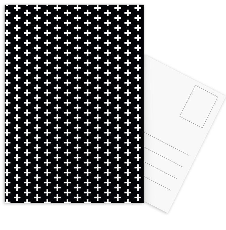 Black & White, Patterns, Cross Black And White Postcard Set
