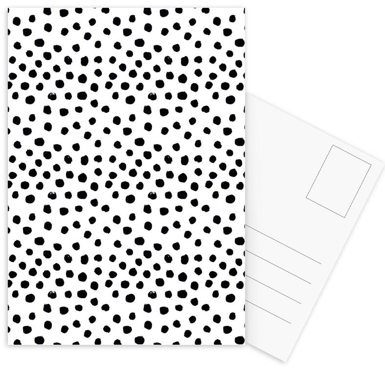 Black & White, Patterns, Dots Black And White Postcard Set