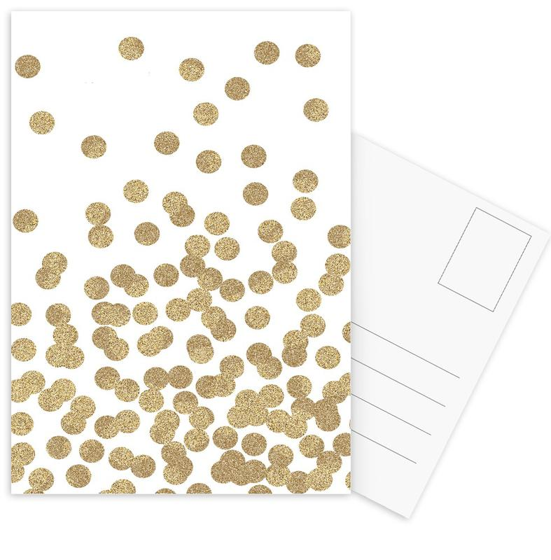 Gold Glitter Postcard Set