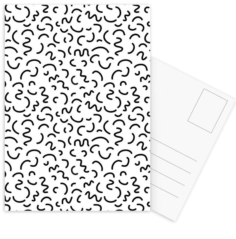 Black & White, Patterns, Memphis Squiggle Postcard Set