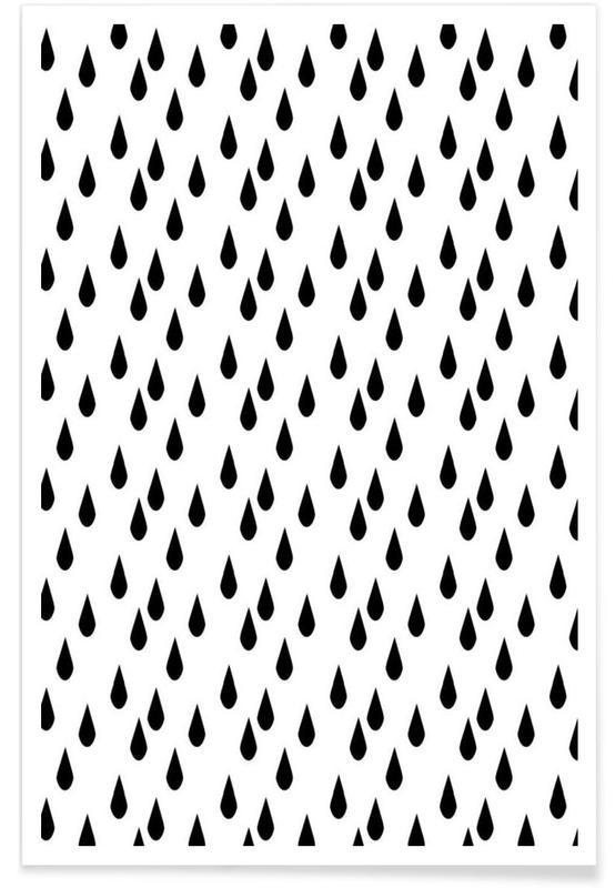 Zwart en wit, Patronen, Rain poster