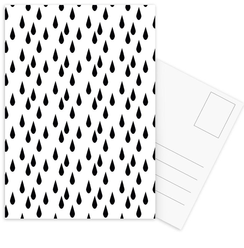 Black & White, Patterns, Rain Postcard Set