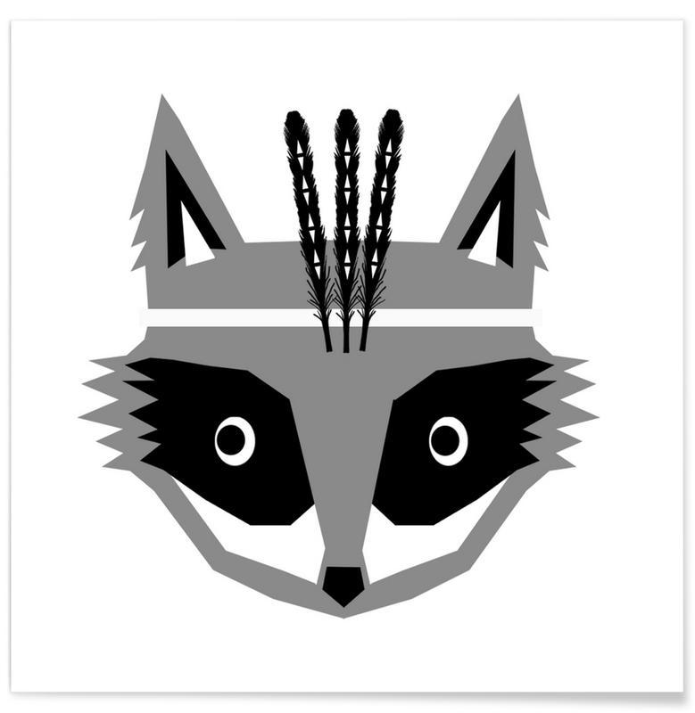 Black & White, Nursery & Art for Kids, Southwest Raccoon Poster