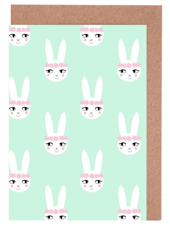 Art pour enfants, Naissances, Pâques, Lapins, Easter Bunny Mint cartes de vœux