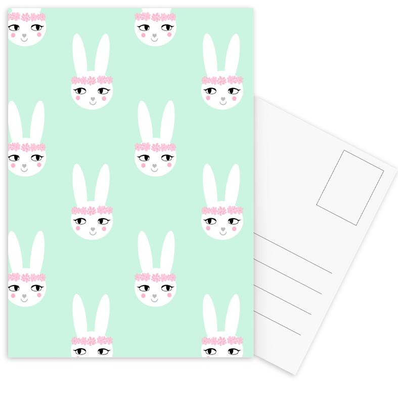 Rabbits, Easter, Birth & Babies, Nursery & Art for Kids, Easter Bunny Mint Postcard Set