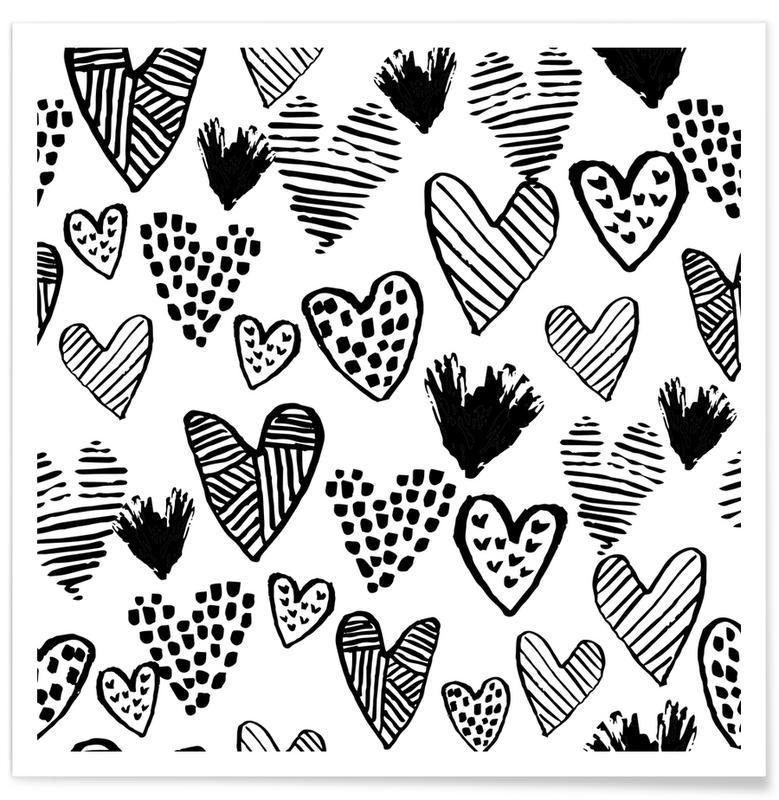 Cœurs, Noir & blanc, Anniversaires de mariage et amour, Saint-Valentin, Valentines B&W affiche