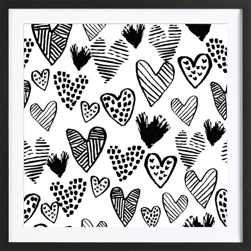 Valentines B&W -Bild mit Holzrahmen
