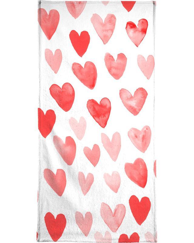 Valentines Hearts Beach Towel