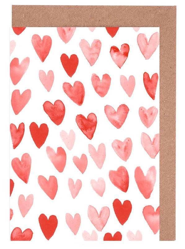 Valentines Hearts Greeting Card Set