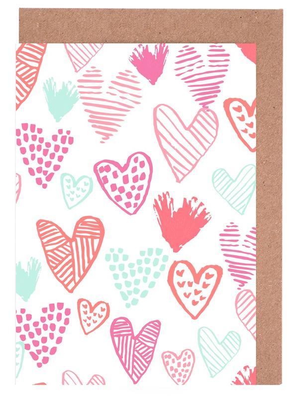 Liebe & Jahrestage, Valentinstag, Herzen, Muttertag, Valentines Pretty -Grußkarten-Set