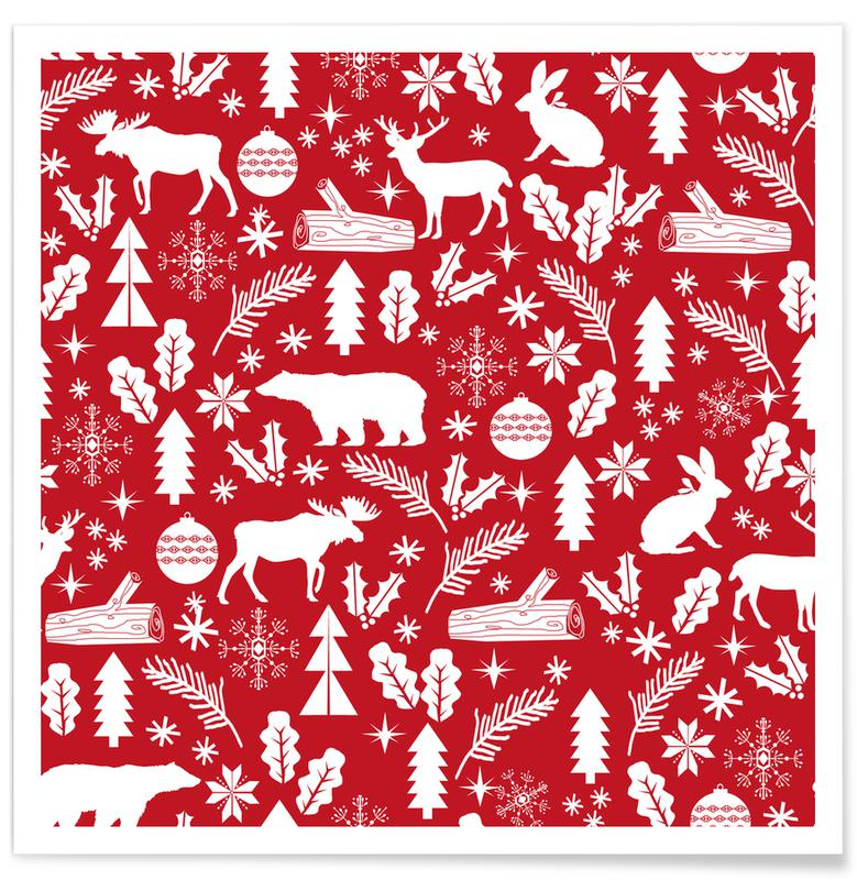 Kerst, Christmas Woodland poster
