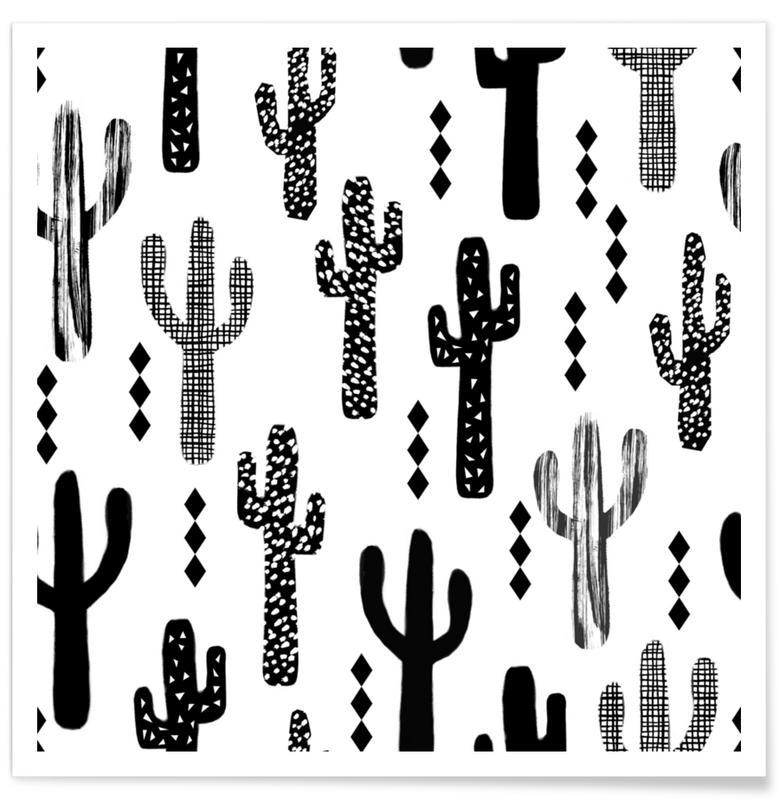 Cacti, Cactus Black Poster