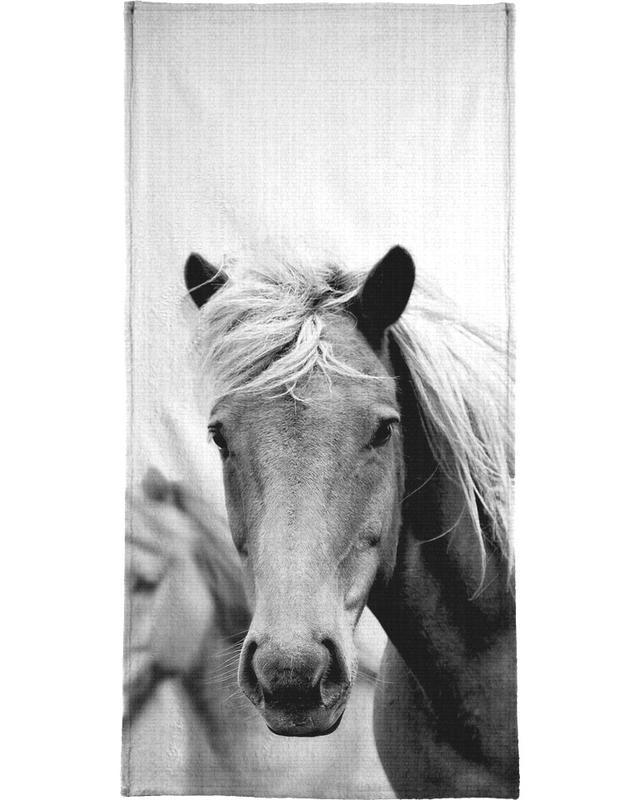 Chevaux, Noir & blanc, Print 180 serviette de bain