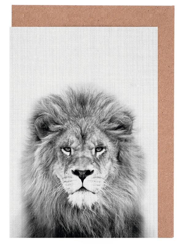 Löwen, Kinderzimmer & Kunst für Kinder, Schwarz & Weiß, Lion -Grußkarten-Set