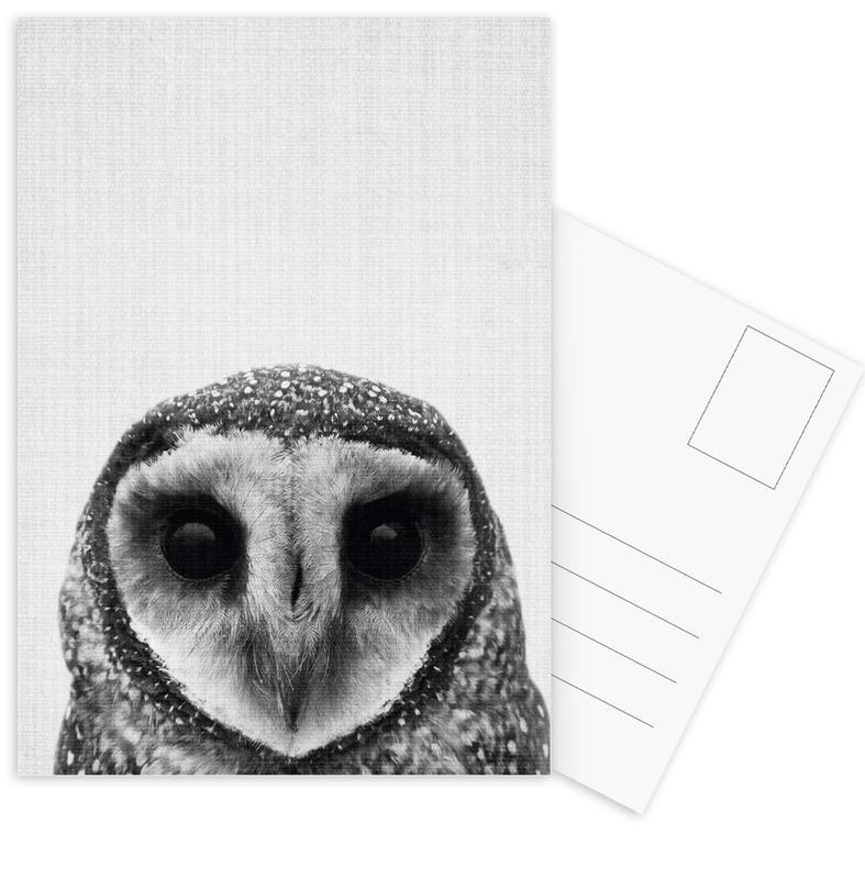 Chouettes, Noir & blanc, Art pour enfants, Print 40 cartes postales