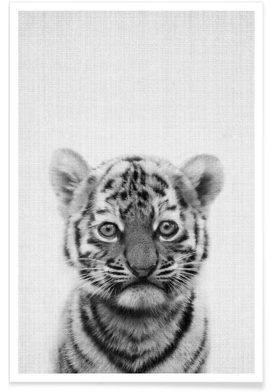 Børneværelse & kunst for børn, Sort & hvidt, Tigre, Tiger Black & White Photograph Plakat
