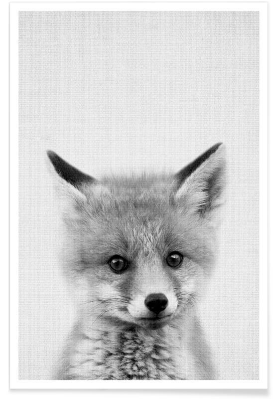 Art pour enfants, Renards, Noir & blanc, Photo monochrome de bébé renard affiche