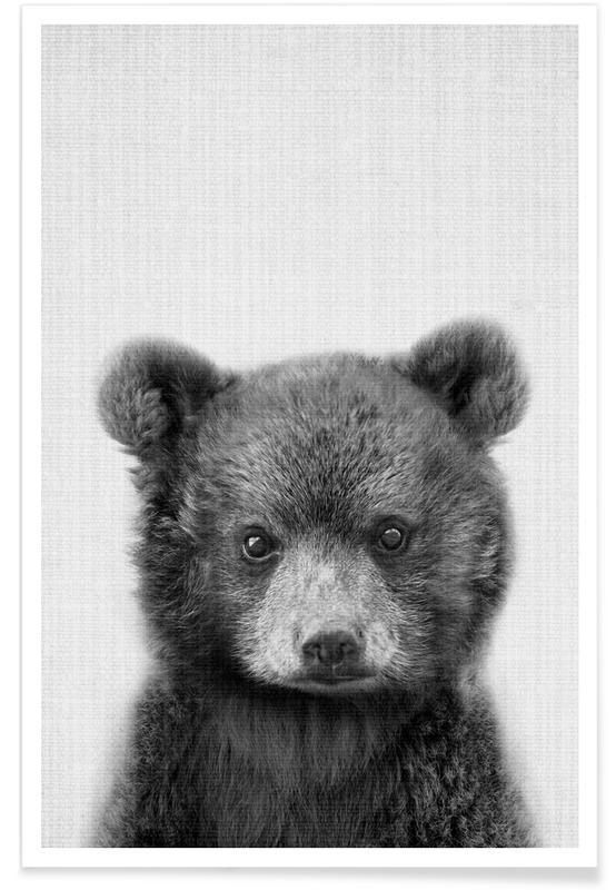 Bear Black & White Photograph Plakat