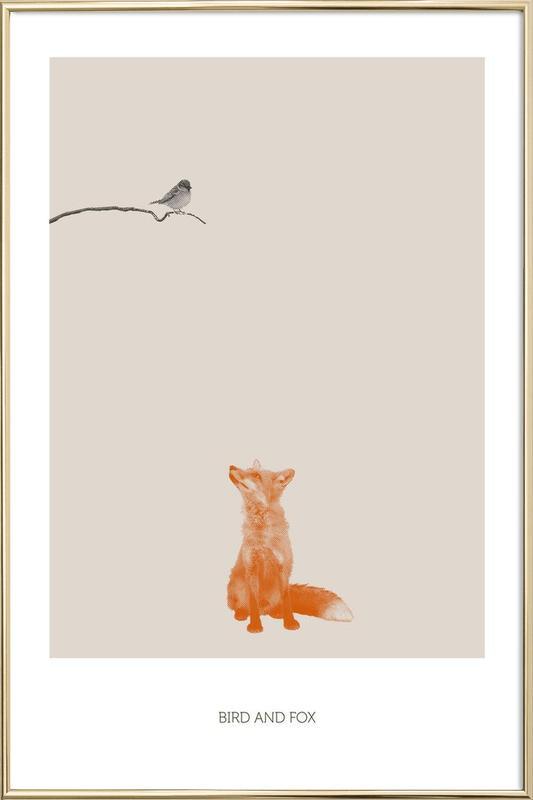 Bird And Fox -Poster im Alurahmen