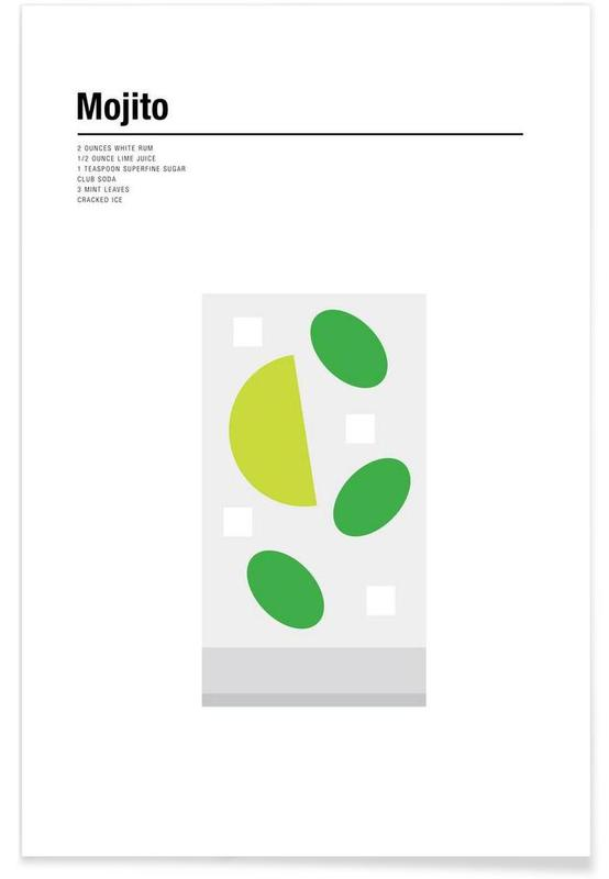 Cocktails, Minimalist Mojito Poster