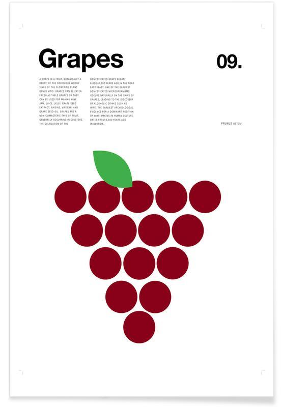 Rote Trauben – minimalistisch -Poster