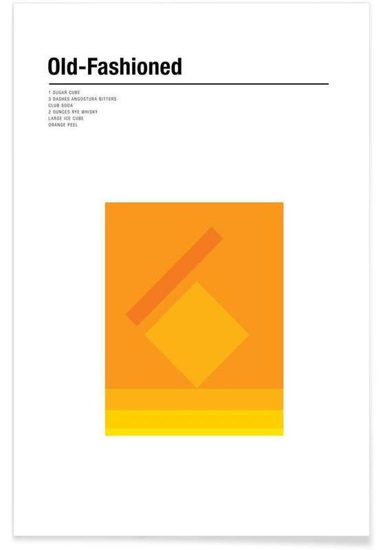 Cocktails, Old Fashioned – minimalistisch -Poster