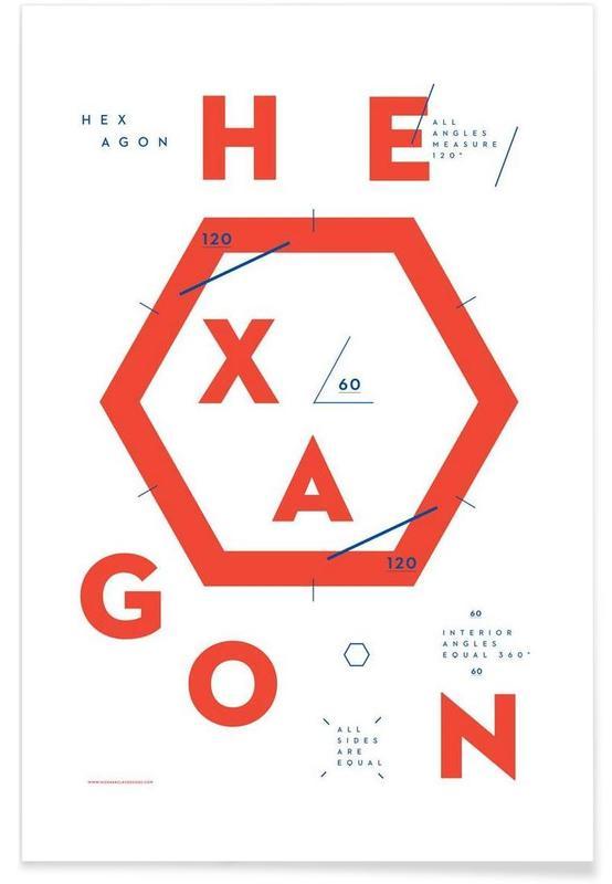 Alfabet en letters, Hexagon poster
