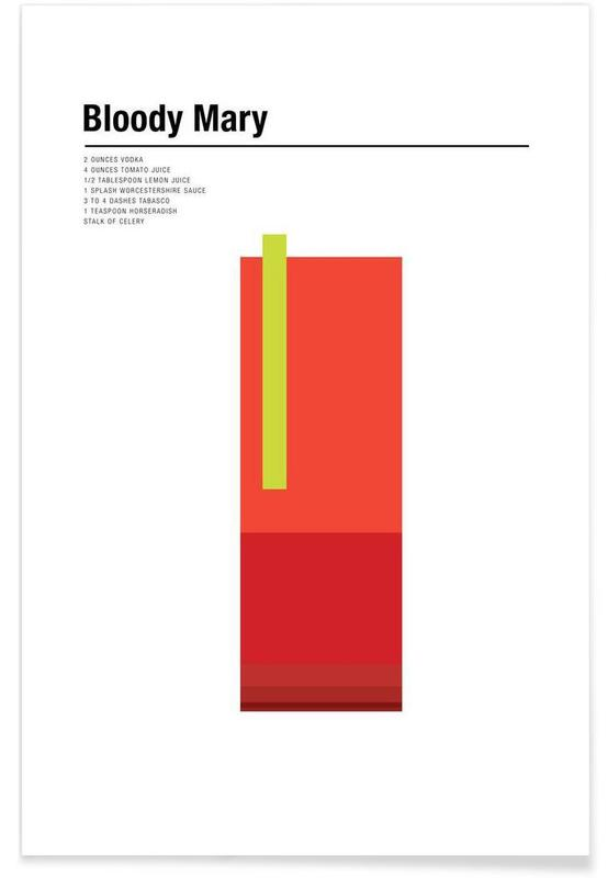 Cocktails, Minimalist Bloody Mary Poster