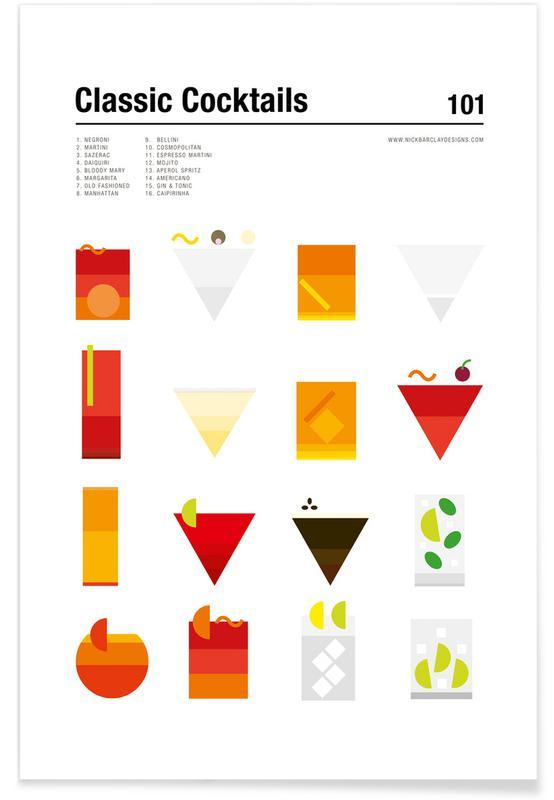 Cocktails, Minimalist Classic Cocktails Plakat