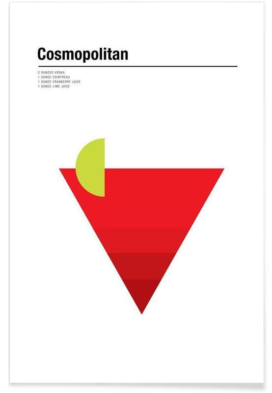 Cocktails, Minimalist Cosmopolitan Plakat