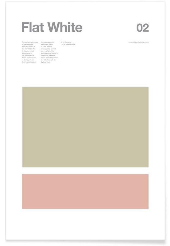 Kaffee, Flat White – minimalistisch -Poster