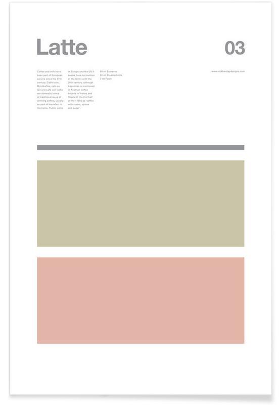 Koffie, Latte - minimalistisch poster