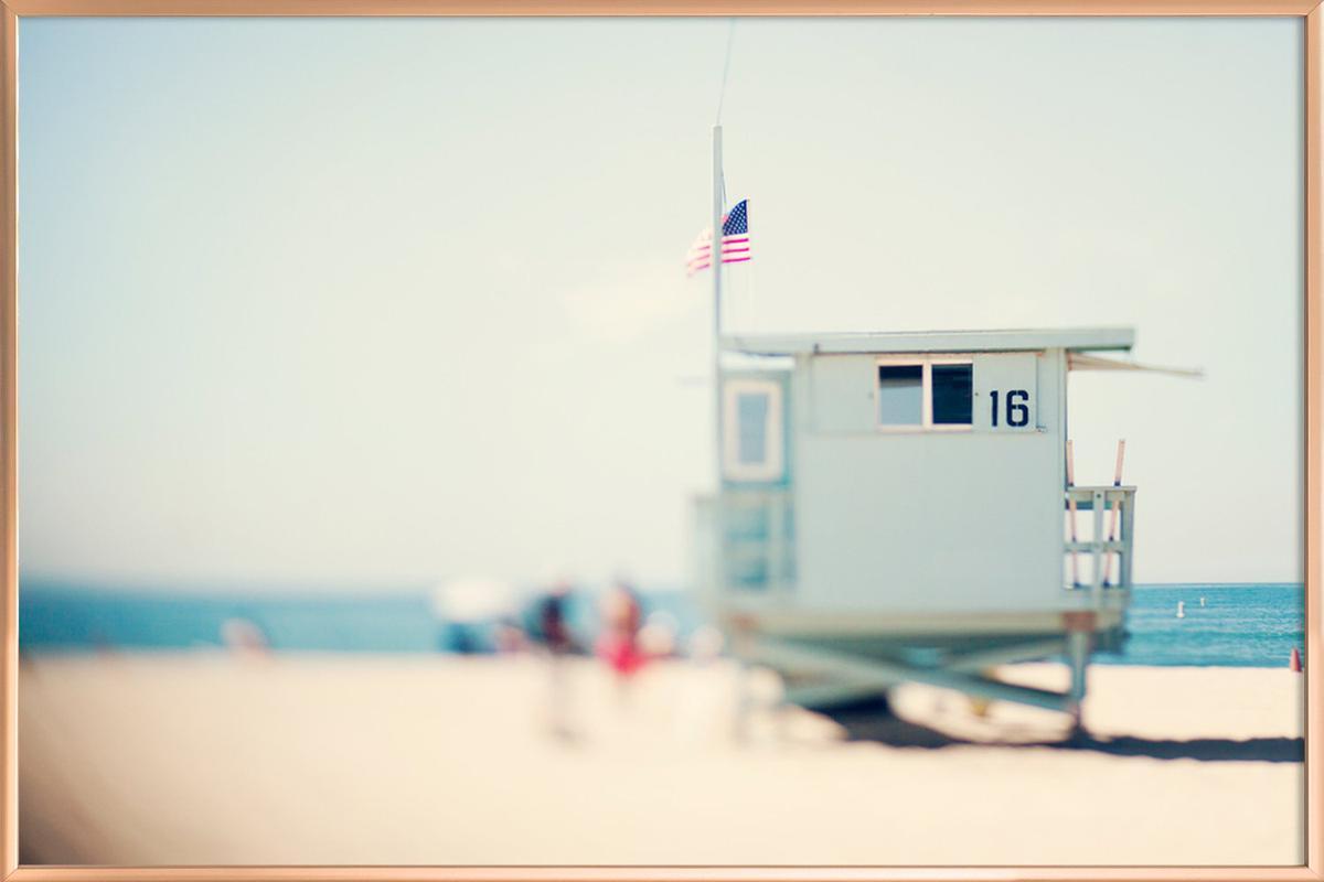 Beach House Poster in Aluminium Frame