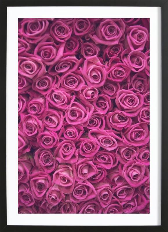 Pink Roses -Bild mit Holzrahmen